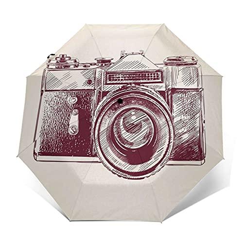 Paraguas Plegable Automático Impermeable Ilustración de cámara, Paraguas De Viaje Compacto Prueba De Viento, Folding Umbrella, Dosel Reforzado, Mango Ergonómico