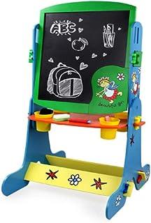 MGKMG Arte Infantil Pizarra Y Pizarra Caballete De Doble Cara Magnética, Regulable En Altura, Se Puede Girar 360 Grados, Y Unido con Letras Y Números Magnéticos,Azul