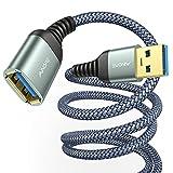 3M USB Verlängerung Kabel AINOPE USB 3.0 Verlängerungskabel A Stecker auf A Buchse mit eleganten Alluminiumsteckern, Nylon Stoffmantel für Kartenlesegerät,Tastatur, Drucker, Scanner, Kamera