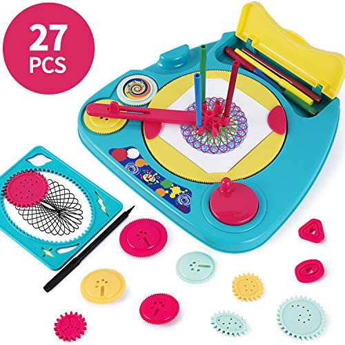 iPlay, iLearn Kids Spiral Drawing Set, Fun Shapes Artwork Tools, Design Your own Creativity Kit with Colorful Pens & Stencil Pattern for 3, 4, 5, 6, 7, 8 Year Old Boy Girl Toddler Preschooler-27 Piece