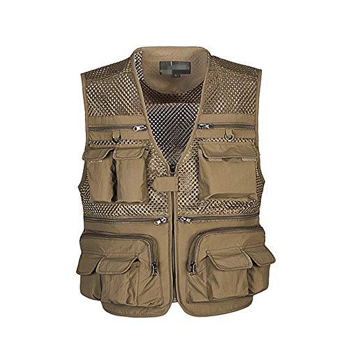 CNBPLS Chaleco de malla transpirable para hombre, chaleco de carga de múltiples bolsillos, para trabajo al aire libre, safari, pesca, viajes, fotos, caqui, 5XL