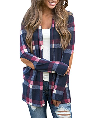 Sexyshine Women's Patchwork Long Sleeve Plaid Checkered Blouse Suede Elbow Cardigan Open Front Stitching Top(ZQ,XL)