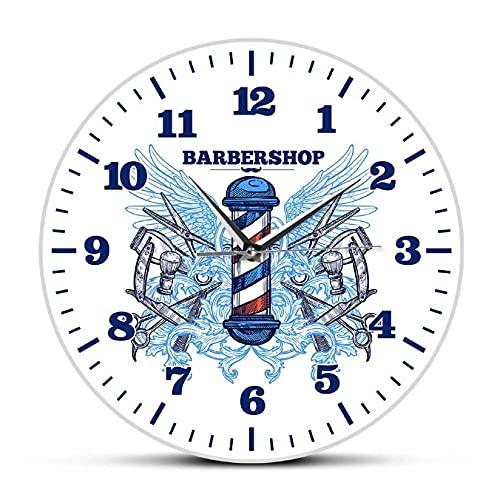 JKLMZYT Peluquería Reloj de Pared de diseño Moderno Peluquería Cortador de Poste Reloj de Cuarzo Barrido silencioso Hipster Hombre Club Decoración Reloj de Pared colgante-30X30cm