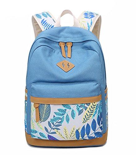 DNFC School Bag Canvas Backpack Girls Boys Teenager Fashion Rucksack Daypack Sports Bag Laptop Book Bag Satchel Cool Back Pack School Backpack (Light Blue)