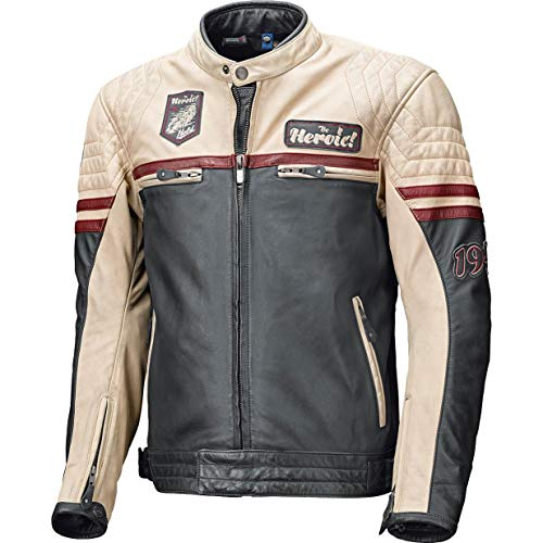 Held Motorradjacke mit Protektoren Motorrad Jacke Baker Lederjacke blau/beige/Burgund 52, Herren, Chopper/Cruiser, Sommer
