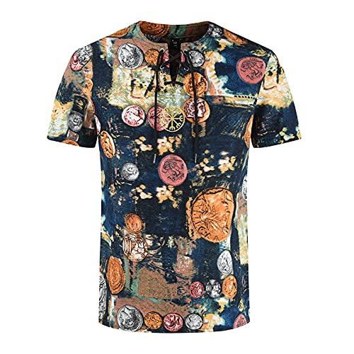 Camiseta de manga corta para hombre, de verano, informal, con estampado étnico, de algodón y lino impreso, de corte ajustado. D_Multicolor. XXL