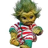 DHFD Reborn Baby Grinch Toy, Bébé G-rinch Jouet Réaliste Dessin Animé Poupée, Noël Simulation Poupée Enfants, Noël Reborn Poupée de Noël Bébé, 20Cm, Vert