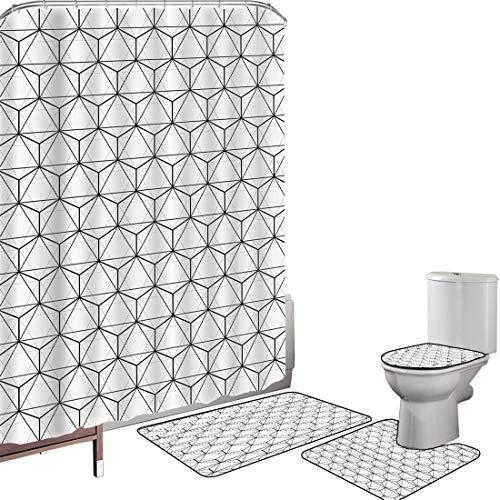Juego de cortinas baño Accesorios baño alfombras Geométrico Alfombrilla baño Alfombra contorno Cubierta del inodoro Líneas abstractas,imagen en rayas de color gris carbón con diseño hexagonal, Imperme