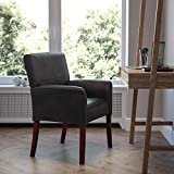 Flash Furniture BT-353-BK-LEA-GG Black LeatherSoft Executive Side Reception Chair with Mahogany Legs