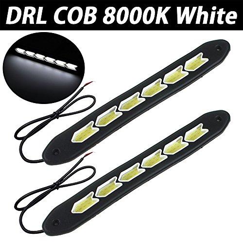 TABEN Lot de 2 feux de circulation diurnes universels 640 lm en caoutchouc souple et flexible 5 W 12 V avec puce COB LED DRL pour voiture (flèche, blanc)