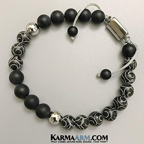 CHAOS | Black Onyx | Hand Carved Black Jade | Pull-Tie Adjustable Meditation Bead Mala | Self-Care Wellness Wristband | Zen Yoga Jewelry