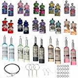 WISTART 30 Pack Mixed Miniature Drinks Resin Milk Tea Charms Boba Charms Mini Bottles Charms DIY Pendant Fruit Charms for Craft Necklaces Earrings Keychains Jewelry Making Accessories
