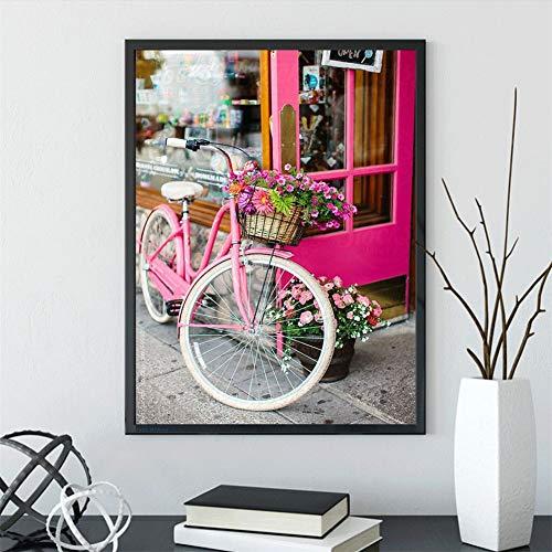 DIY 5D Diamond Painting por número Kits Full Drill Bicicleta flores,Pintura de diamantes de imitación de Crystal Dot Grande Punto de cruz Lienzo Art Craft for Home Wall Decor Gift Square Drill,70x90cm