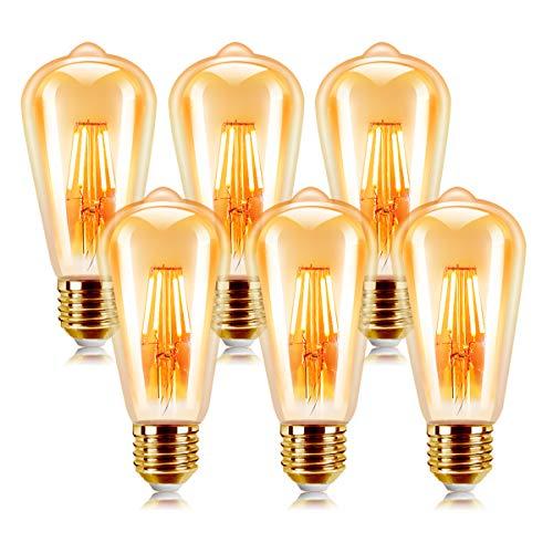 Bombilla Retro Vintage, Extrastar Bombillas Edison de Filamento LED E27 6W (equivalente a 60W), 540 lm, Color blanco cálido 2200K, No regulable - Pack de 6 Unidades.