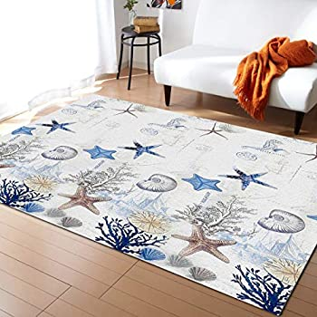 2x3ft Large Area Rugs for Living Room Nautical Tropical Ocean Collection Area Runner Rugs Non Slip Bedroom Carpets Hallways Rug Outdoor Indoor Nursery Rugs Décor Anchor Starfish Shell Seahorse