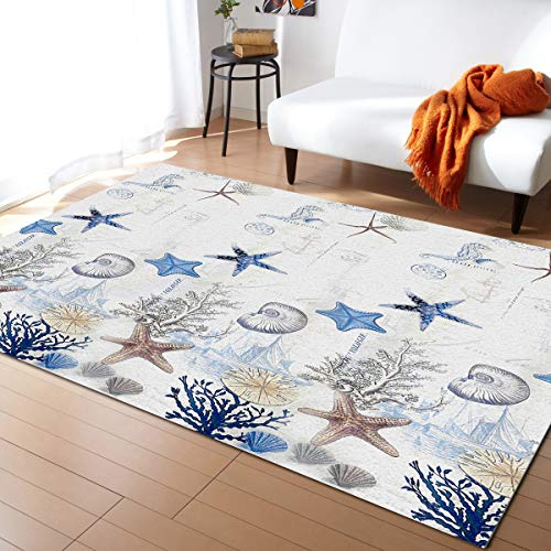 3x5ft Large Area Rugs for Living Room, Nautical Tropical Ocean Collection Area Runner Rugs Non Slip Bedroom Carpets Hallways Rug, Outdoor Indoor Nursery Rugs Décor, Anchor Starfish Shell Seahorse