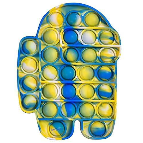 COWINN Juguetes Fidget, Gadgets de Burbujas de presión, Juguetes sensoriales, Juguetes Populares para niños y Adultos, Juguetes de Alivio de presión de Silicona-Azul Amarillo 03