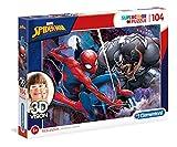 Clementoni- Puzzle 104 Piezas 3D + Gafas Spider-Man, Multicolor, única (20148.8)