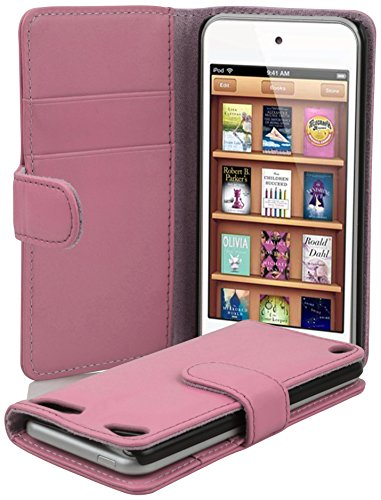 Cadorabo Book Case works with Apple iPod TOUCH 5 in DUSKY PINK - with Stand Function and Card Slot made of Smooth Faux Leather - Wallet Etui Cover Pouch PU Leather Flip