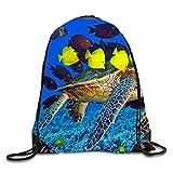uykjuykj Bolsos De Gimnasio,Mochilas,Turtle Fish Printed Cute Drawstring Backpack Girls Daypack Tote Travel 17x14 IN Turtle fish4 Lightweight Unique 17x14 IN
