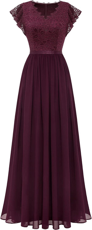 Dressystar Women's V Neck Formal Dress Maxi Lace Chiffon Long Bridesmaid Wedding Gown