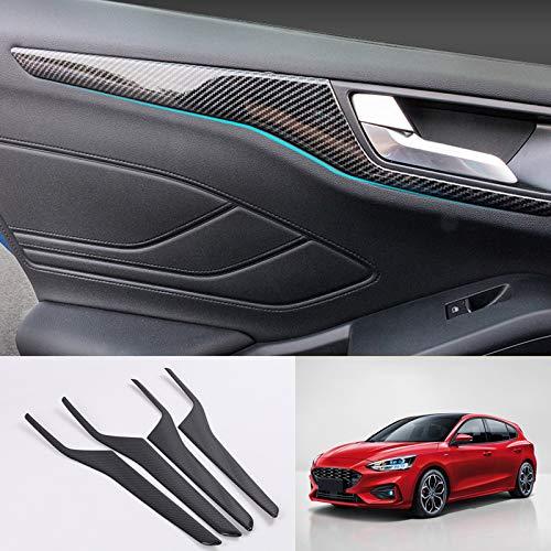 HIGH FLYING - Para Focus 2019 5 puertas (No apto para Sportbreak) Color de fibra de carbono Embellecedor Manija Cromado 4 piezas Plástico ABS