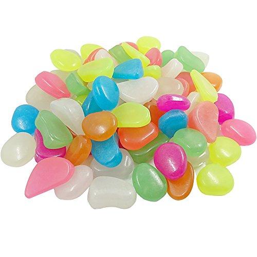 Bestgle 50 Pcs Aquarium Fluorescent Beads Mixed Color Glowing Pebbles Stones Gravel for Fish Tank Garden Plant Flower Pot Vase