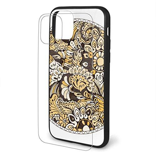 Design mit runder Malvorlage mit Gekritzel Kompatibel für iPhone 11 Hülle Harter PC + Weiche TPU-Schutz Stoßfeste dünne Telefonabdeckung Pro max-iphone11Promax-