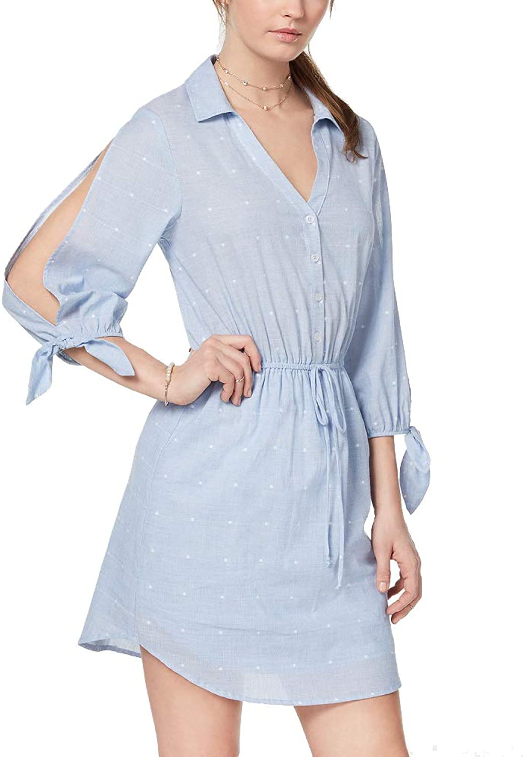 City Studios Juniors' SplitSleeve Drawstring Shirtdress