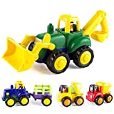 Kidpal Car Toys for 1 2 3 Year Old Boy & Girl, Toddler Car Toy with 4 Sets Tractor, Truck, Dumper, Bulldozer Toy Construction Vehicles, Truck Toy Birthday for 18M 20M 24M+
