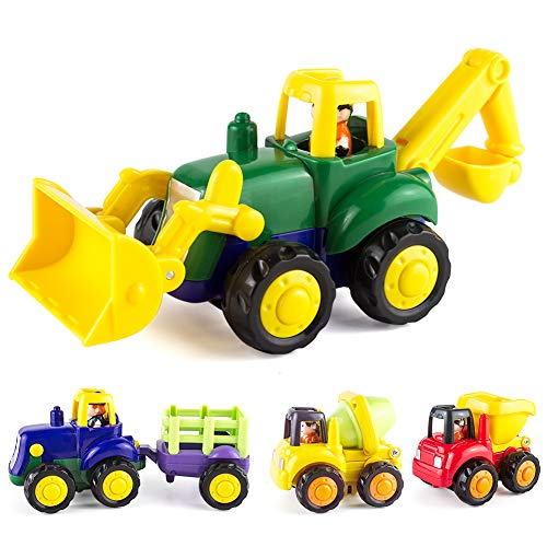 Friction Powered Cars for 2 3 Year Old Boy & Girl  Toddler Car Toy with 4 Sets Tractor  Truck  Dumper  Bulldozer Toy Construction Vehicles  Truck Toy Birthday for 18M 20M 24M+