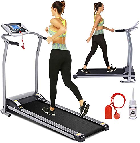 Electric Folding Treadmill with LCD Monitor - Easy Assembly (Silver) Now $230.99 (Was $330)