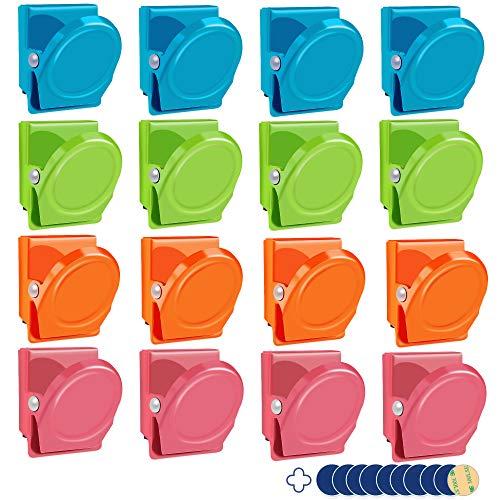 SOSMAR - 16PCS Magnet Klammer - Magnet Clips Haken für Kühlschrank, Whiteboard, Magnettafel, Pinwand, Magnetwand usw.- Breite Metallclips 30mm