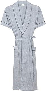 AXIANQI メンズ夏の薄い綿40%の薄い半袖パジャマロングバスローブホームウェア A (色 : Gray, サイズ さいず : M)