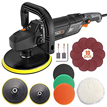 Polisher TACKLIFE Buffer Polisher 7-Inch/6-Inch 12.5Amp With 6 Variable Speeds Digital Screen Lock Switch Detachable Handle Ideal For Car Sanding Polishing Waxing Sealing Glaze - PPGJ01A