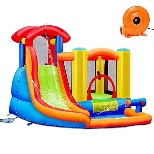 COSTWAY Castillo Hinchable con Tobogán para Niños con Soplador de 400-450W Centro de Juego con Bolsa de Transporte para Parque Patio Jardín Exterior