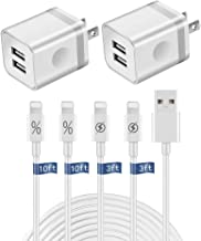 WHIRELEAST Phone Charger Cable with Wall Plug 3FT+10FT Long Charging Data Sync Cord+ 2.1A Dual Port Wall Charger Adapter Compatible with iPhone X/8/7/6s/6 Plus/5s/5c/XR/XS Max iPad AirPods (6-Pack)