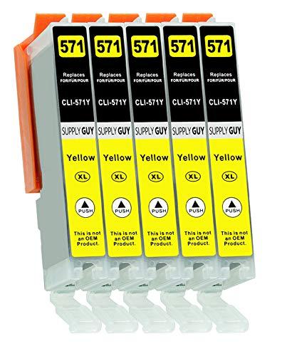 Supply Guy 5 XL Druckerpatronen mit Chip kompatibel mit Canon CLI-571 Gelb für Pixma MG5700 MG5750 MG5751 MG6800 MG6850 MG7750 TS5000 TS5050 TS5055 TS6050 TS8050 TS9050 TS9055 und weitere