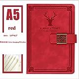 kitei Cuaderno Cuaderno clásico, Cubierta Dura de Cuero, 5x8.25, Perfecto for Escribir, Dibujar, Scrapbooksa Travelers Diario (Color : Red)