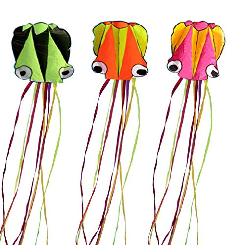 1 Set 3 Pcs 4M Large Octopus Kite Easy to Fly with Handle & String for Family Kite Festival Outdoor Park Beach Games Family Activities