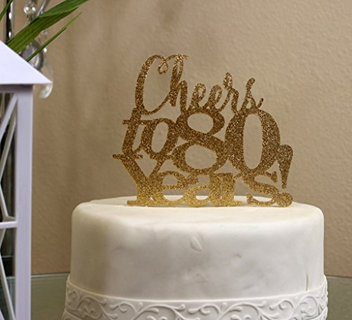 All About Details Gold Cheers to 80 Years! Cake Topper