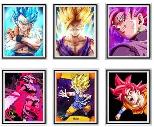 YEAHTOPE Dragon Ball Super SSJ Gogeta Gohan Black Rose Goku Fighter Manga Anime Arte digital de pared Póster impresos, 8 x 10 pulgadas, sin marco, juego de 6