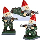 3 Pcs Army Garden Gnomes Statues with Guns AK47 Sculpture Funny War Soldier Gnome Army Men Gifts Outdoors Lawn Patio Yard Art Decor (Camouflage)