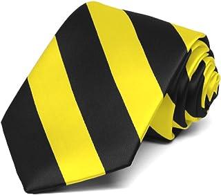 TieMart Boys' Yellow and Black Striped Tie