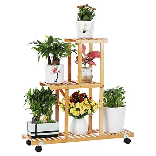 Bamboo Plant Stand Rack with Wheels 3 Tier Indoor&Outdoor Rolling Plant Flower Pots Holder Shelf Planter Display Shelving Unit for Patio Garden, Living Room, Corner Balcony and Bedroom (6 Flowerpots)