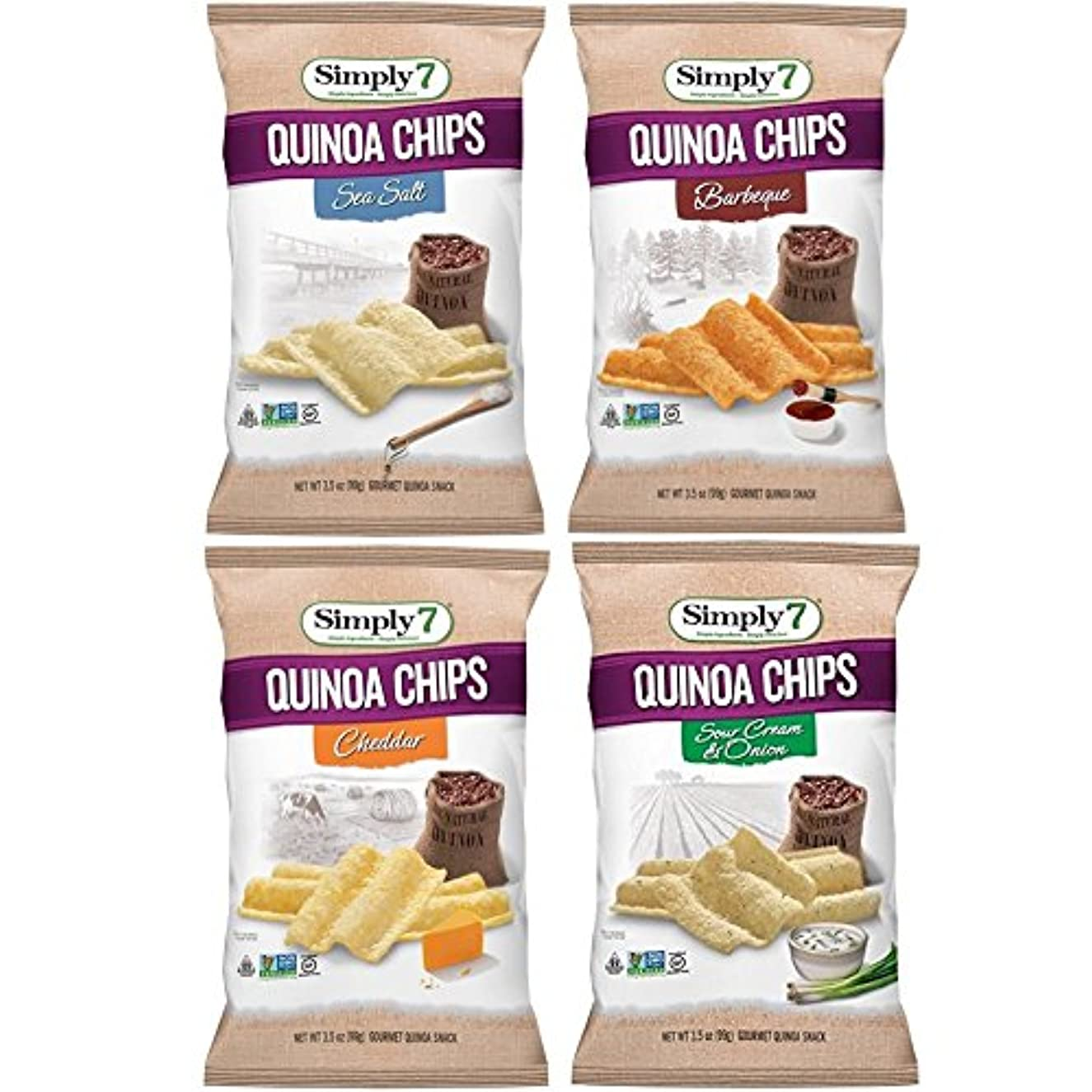Simply7 Gluten Free Quinoa Chips, Variety Pack, 4 Count