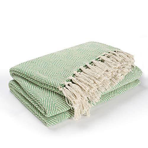 EHC Tagesdecke, Baumwolle, Waffelstruktur, Karomuster, extragroß, für Sofa/Bett, 150x 200cm, Grün