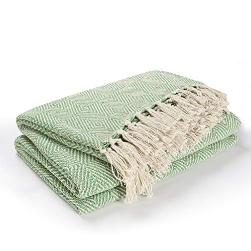 EHC Luxury Reversible Super Soft Cotton Diamond Large Throw For Sofa, Double Bed, Armchair - Green, 150 x 200 cm