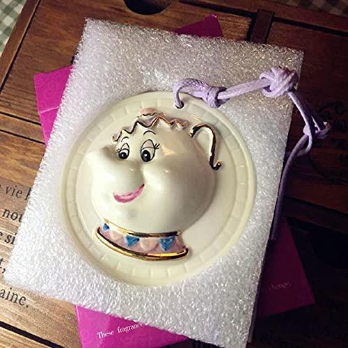 Belleza de dibujos animados y el conjunto de té de la bestia Taza de tetera MRS Potts Chip Sugar Pot Kettle Clock-Difusor de cerámica