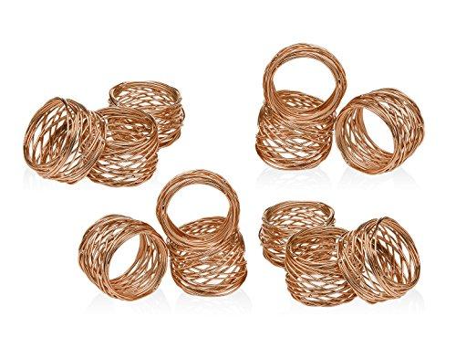 Godinger Round Mesh Napkin Rings Set of 12 Copper for Wedding Banquet Dinner Decor
